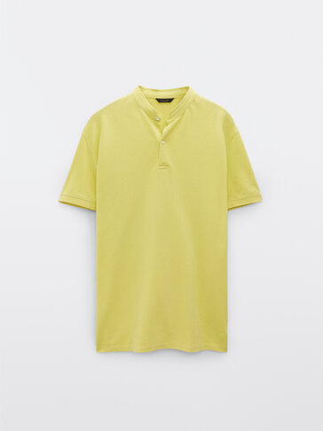 Kurzärmeliges Poloshirt aus Baumwolle mit Maokragen