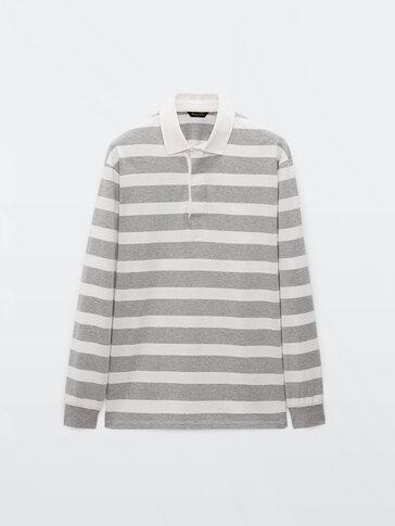 Раирана памучна блуза с якичка с дълъг ръкав