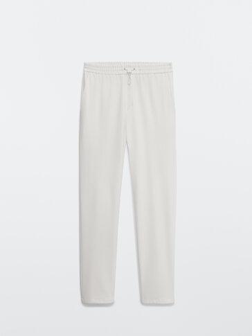 Jogging-fit bukse i bomull