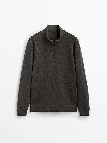 Fermuarlı pamuklu dik yaka sweatshirt