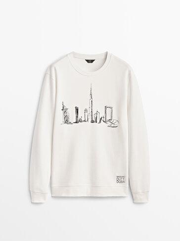 Dubai sloganlı grafik işlemeli sweatshirt