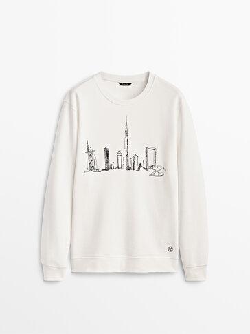 Sweatshirt mit aufgesticktem Dubai-Motiv