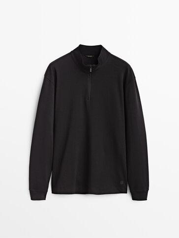 Cotton mock neck sweatshirt with zip