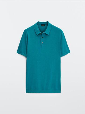 Kurzärmeliger Baumwollpullover im Polo-stil