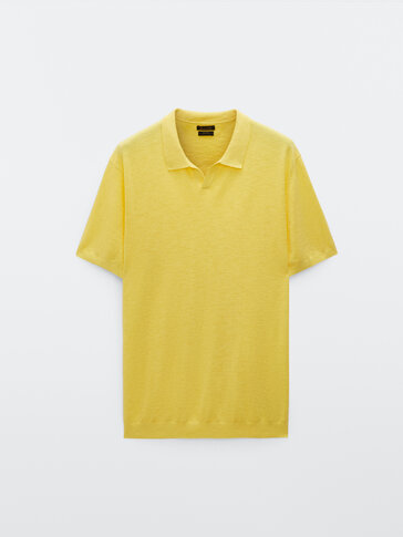 Рубашка из хлопка и льна с воротником поло