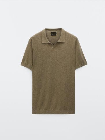 Cotton and linen V-neck polo shirt