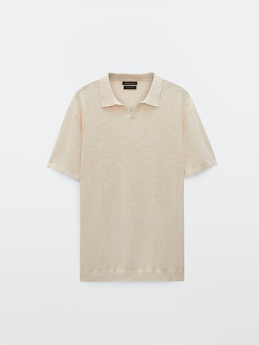 Cotton and linen V-neck polo shirt