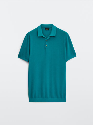 Textured short sleeve polo sweater