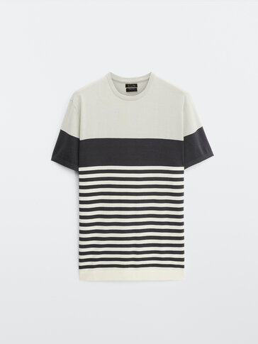 Striped colour block cotton knit T-shirt