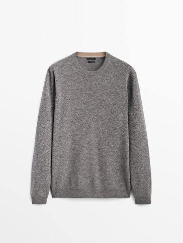 喀什米爾山羊絨/羊毛運動衫式針織衫