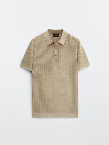 Cotton cable-knit polo sweater