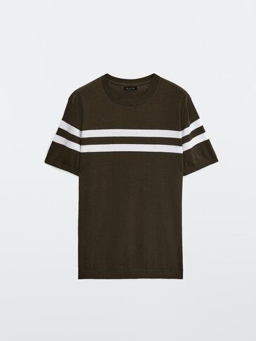 Striped cotton knit T-shirt