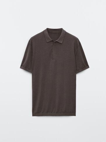 Strikket kortermet poloskjorte i bomull