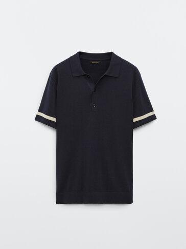 חולצת פולו שרוול קצר מבד סריג עם פסים