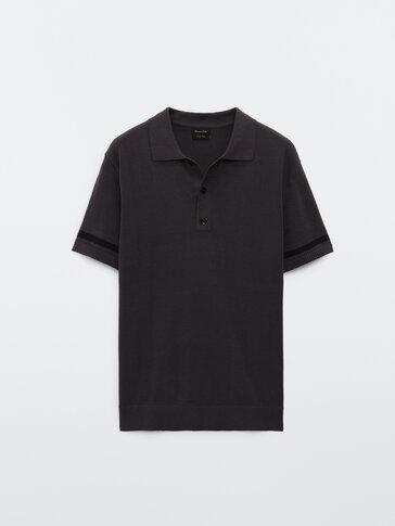 Stripe knit short sleeve polo shirt