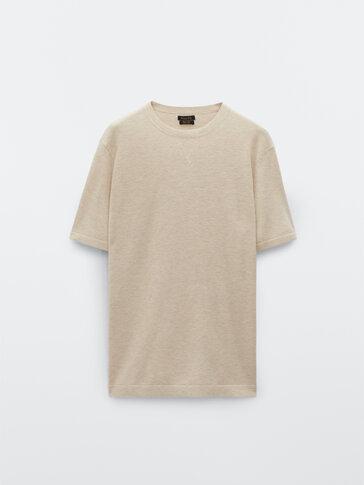 Strikket kortermet t-skjorte i bomull