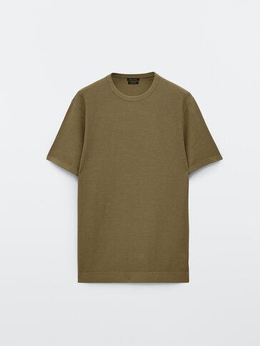 Knit short sleeve cotton T-shirt