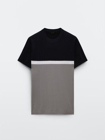 Strikket kortermet t-skjorte med kontrast