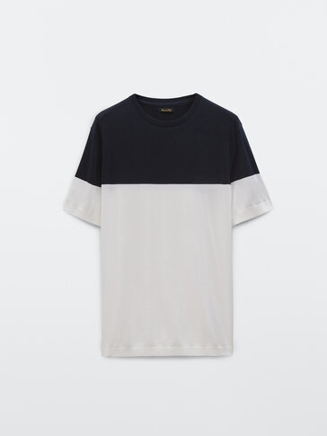 T-shirt maille contraste manches courtes