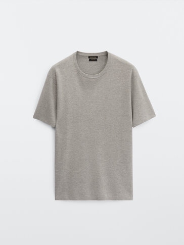 Knit short sleeve cotton T-shirt
