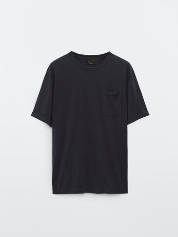 Cotton linen knit T-shirt with pocket