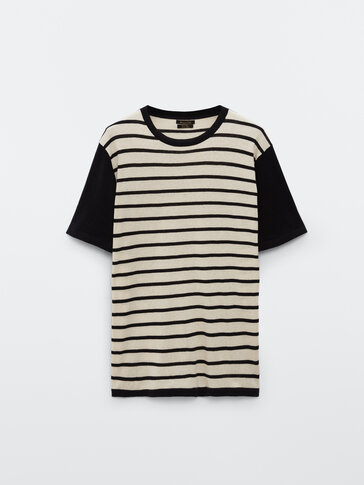 Striped cotton and linen knit T-shirt
