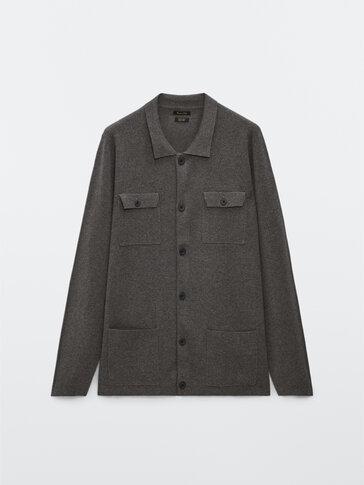 Cardigan in maglia con tasche militari in cotone