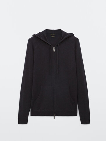 100% cashmere hooded cardigan
