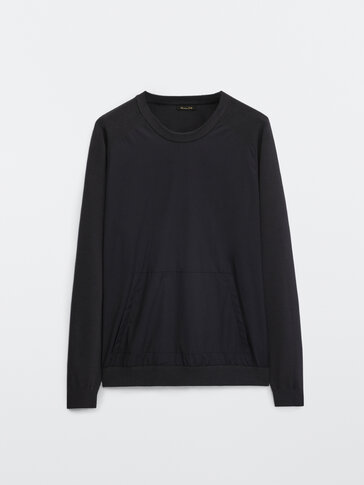Crew neck sweater with contrast fabric