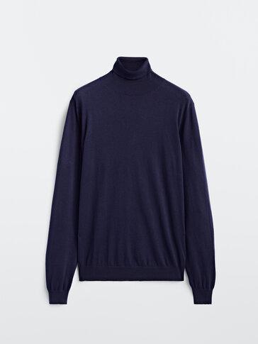 Jersey cuello alto algodón cashmere seda