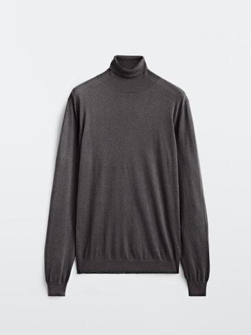 Plain cotton cashmere silk sweater