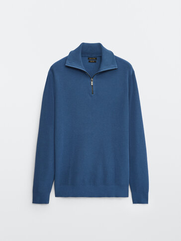 Cotton mock neck sweater with zip fastening