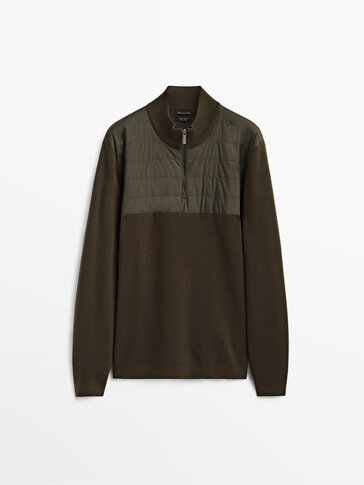 Mock neck sweater with technical detail