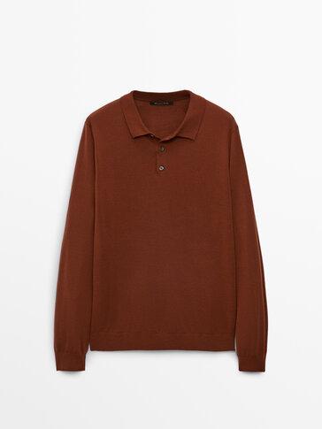 Пуловер с якичка от 100% мериносова вълна