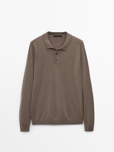 Camisola tipo polo confecionada 100% em lã merino