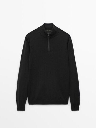 Merino wool mock neck sweater
