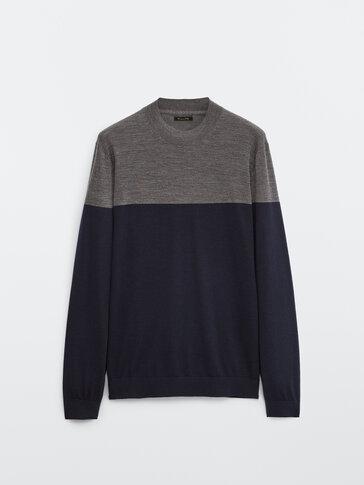 100% wollen trui met opstaande kraag