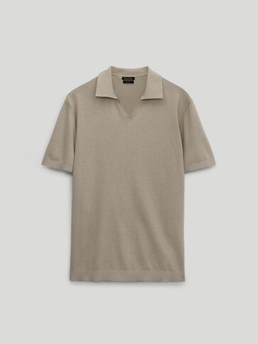 Cotton and linen polo sweater