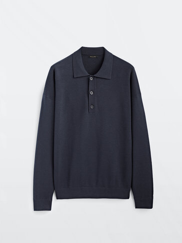 Cotton jacquard polo sweater