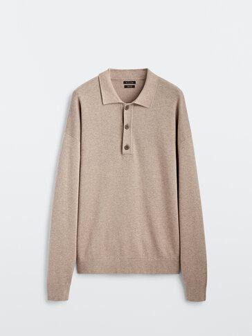 Bavlněný žakárový svetr ve stylu polokošile