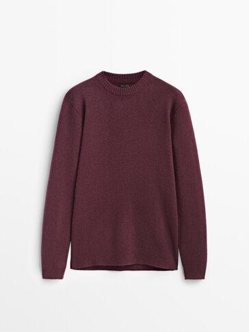 Пуловер от вълна и кашмир с обло деколте