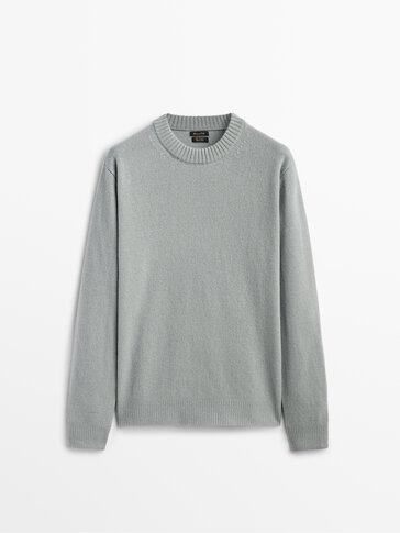喀什米爾山羊絨/羊毛圓領針織衫