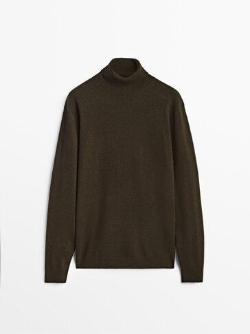 喀什米爾山羊絨/羊毛高領針織衫