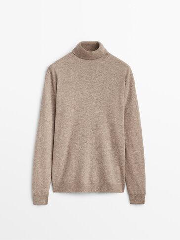 Vilnas un kašmira džemperis ar augstu apkakli