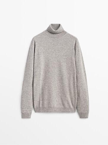 Пуловер с поло яка от вълна и кашмир