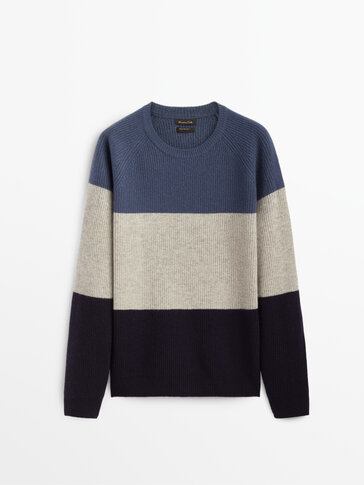 Colour block cashmere wool sweater