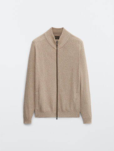 Linen and cotton cardigan with leather detail