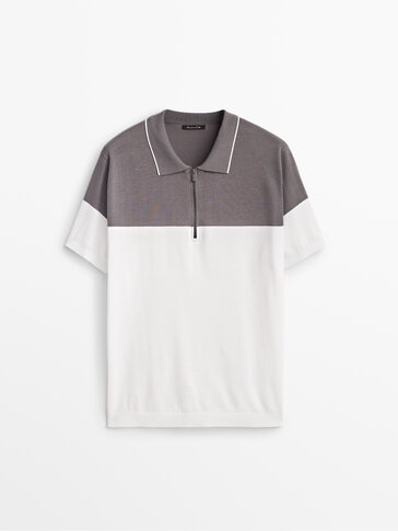 Cotton polo sweater with zip