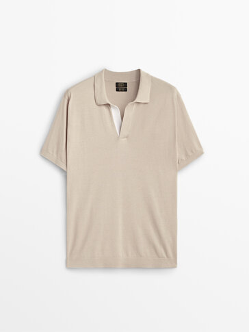 Short sleeve cotton polo sweater