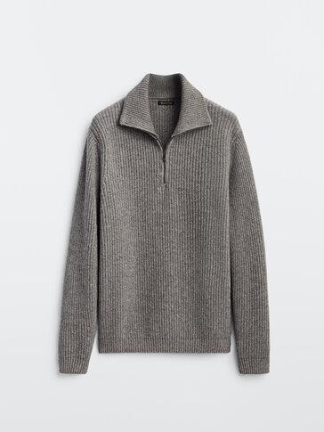 Pull en laine cachemire à col polo zippé